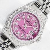 Rolex Ladies Stainless Steel 26MM Pink String Diamond Lugs Datejust Wristwatch W