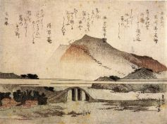 Hokusai - Mountain Landscape with a Bridge