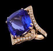 24.05 ctw Tanzanite and Diamond Ring - 14KT Rose Gold