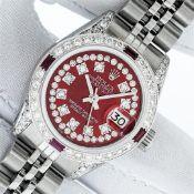 Rolex Ladies Stainless Steel Red Ruby & Diamond Datejust Wristwatch With Rolex W