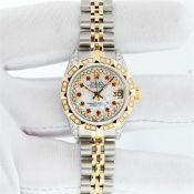 Rolex Ladies 2 Tone MOP Ruby & Pyramid Diamond Datejust Wriswatch With Rolex Box