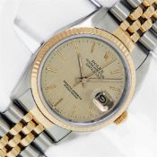 Rolex Mens Datejust 36 Champagne Linen Index Yellow Gold Fluted Oyster Perpetual
