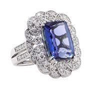 10.17ct Tanzanite and Diamond Ring - Platinum