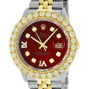 Rolex Mens 2 Tone Red VS 4ctw Beadset Diamond Datejust Wristwatch with Rolex Box