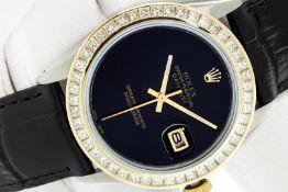 Rolex 36 Datejust Black Onyx 2.75ctw Princess Diamond Leather Band Oyster Perpet