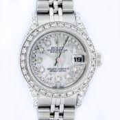 Rolex Ladies Stainless Steel Quickset Mother Of Pearl Diamond Lugs Jubilee Rolex