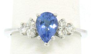14K White Gold .93ctw Pear Cut Solitaire Tanzanite & Round Diamonds Accents Ring