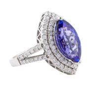4.17ct Tanzanite and Diamond Ring - 14KT White Gold