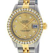 Rolex Ladies Quickset 2 Tone Champagne Channel Diamond Datejust Wristwatch
