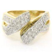 18K Yellow Gold & Platinum .46ctw Pave Set Diamond Open Swirl Cocktail Ring Sz 7
