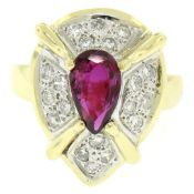 Vintage 18kt White and Yellow Gold 2.98ctw Ruby and Diamond Cocktail Ring