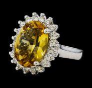 5.37 ctw Citrine Quartz and Diamond Ring - 14KT White Gold