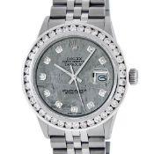 Rolex Mens Stainless Steel Meteorite 3ctw Diamond Datejust 36MM Wristwatch