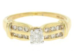 14k Yellow Gold 0.30ctw Round Diamond & Dual Row Channel Accent Engagement Ring