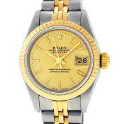 Rolex Ladies 2 Tone Champagne Index Datejust Wristwatch