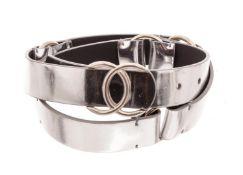 Chanel Silver Caviar Leather CC Belt