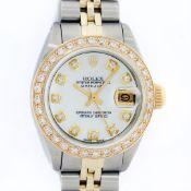 Rolex Ladies 2 Tone MOP Diamond Oyster Perpetual Datejust Wristwatch