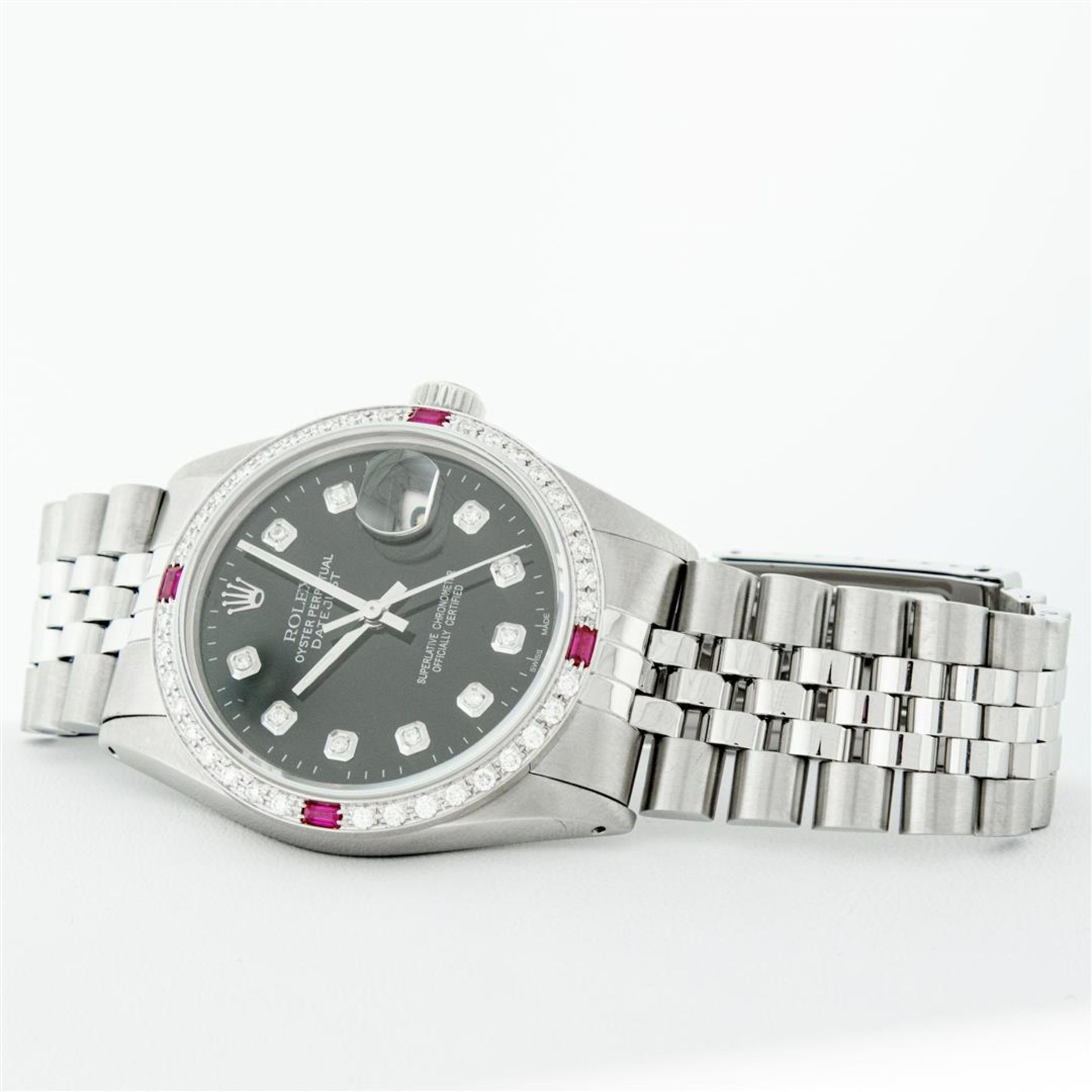 Rolex Mens Stainless Steel Black Diamond & Ruby 36MM Datejust Wristwatch Oyster - Image 5 of 9