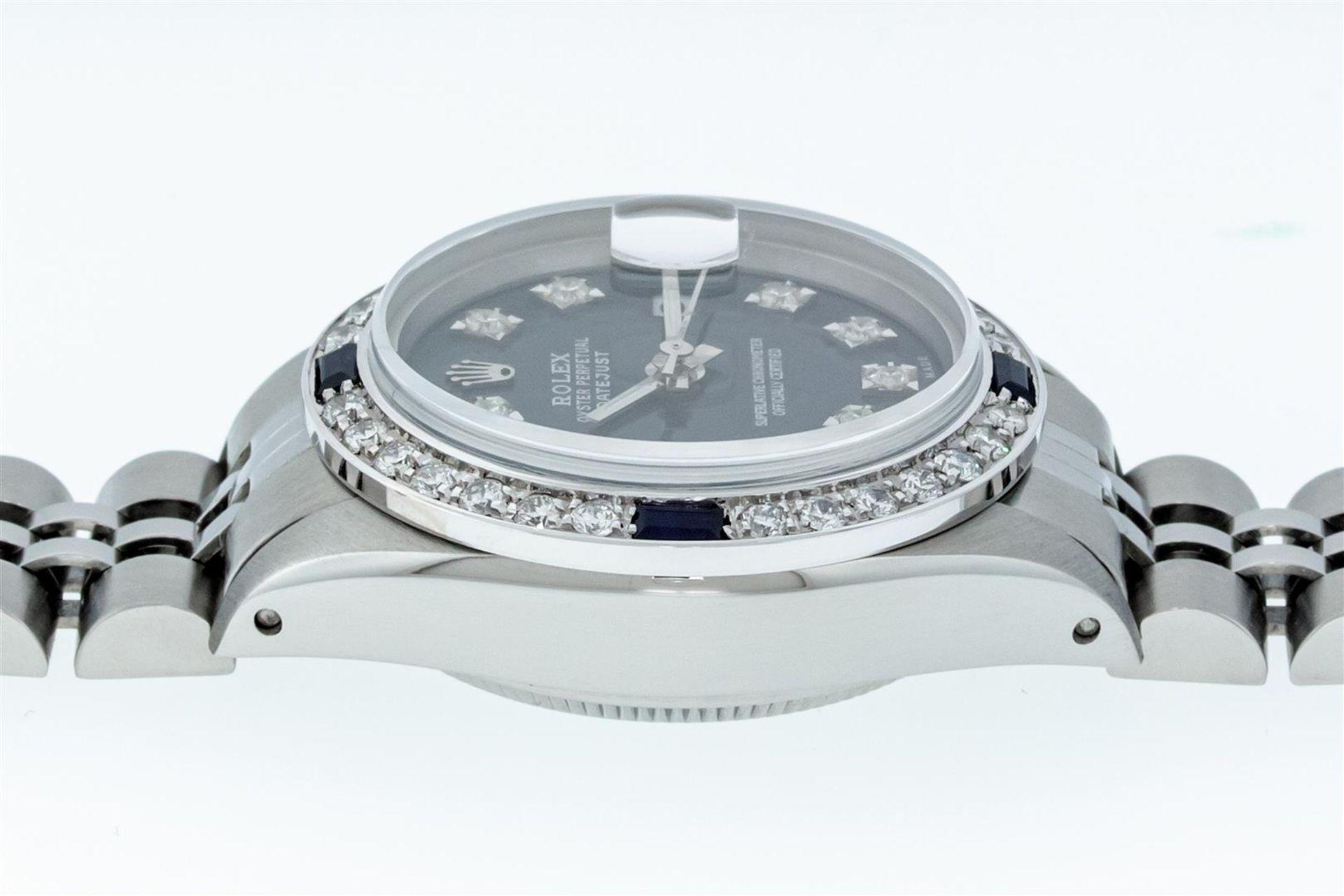 Rolex Ladies Stainless Steel Blue VVS Diamond & Sapphire Datejust Wristwatch - Image 6 of 9