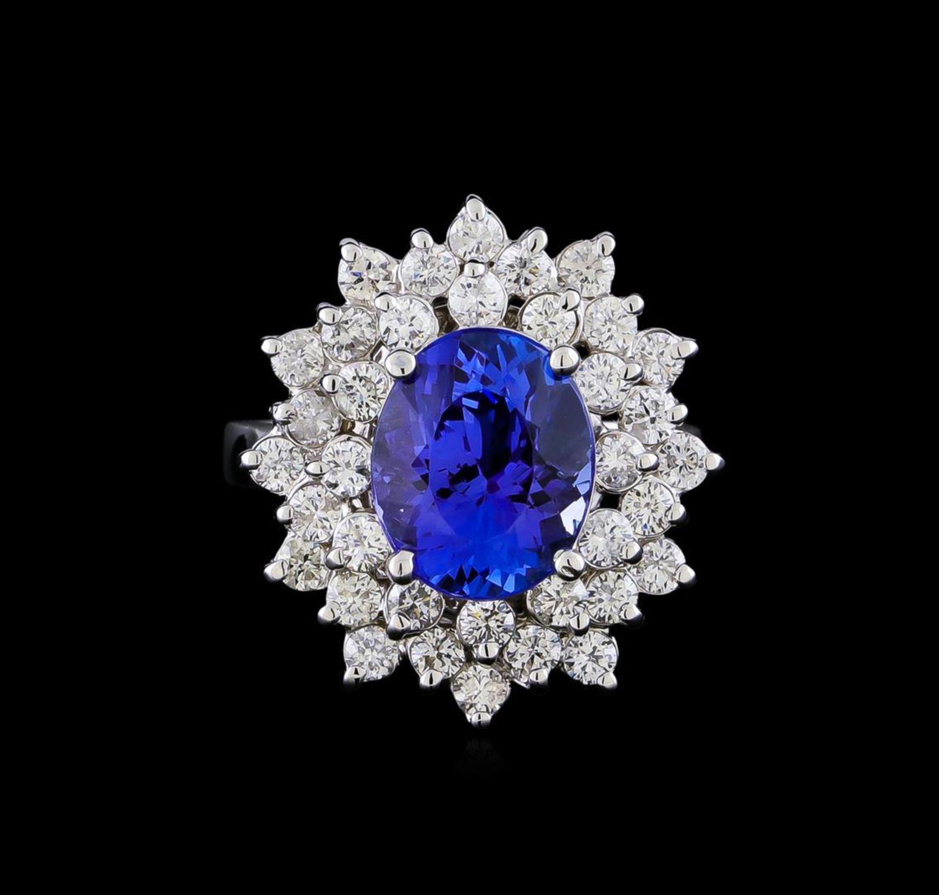 4.01 ctw Tanzanite and Diamond Ring - 14KT White Gold - Image 2 of 5