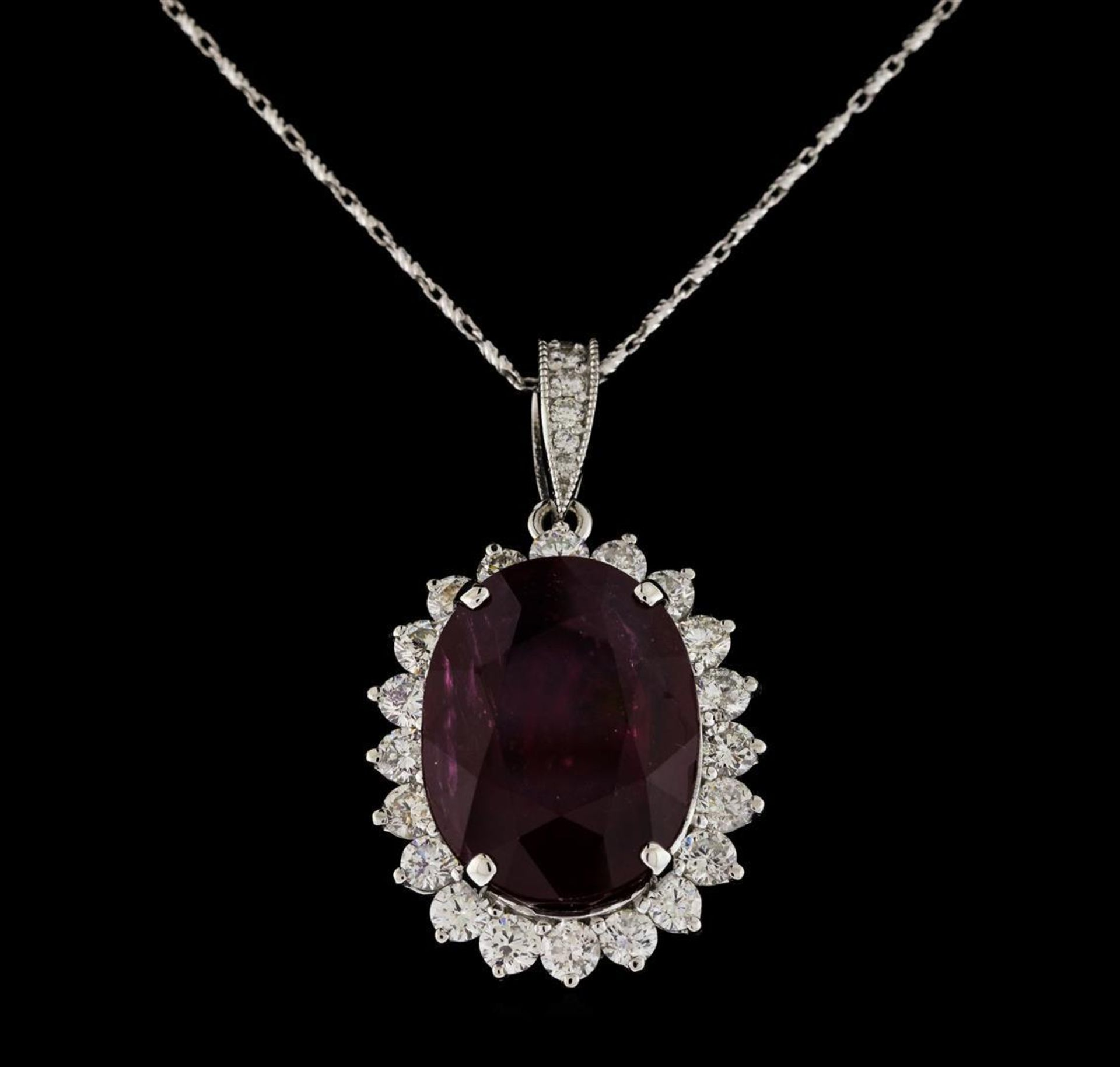 18.81 ctw Ruby and Diamond Pendant With Chain - 14KT White Gold - Image 2 of 3