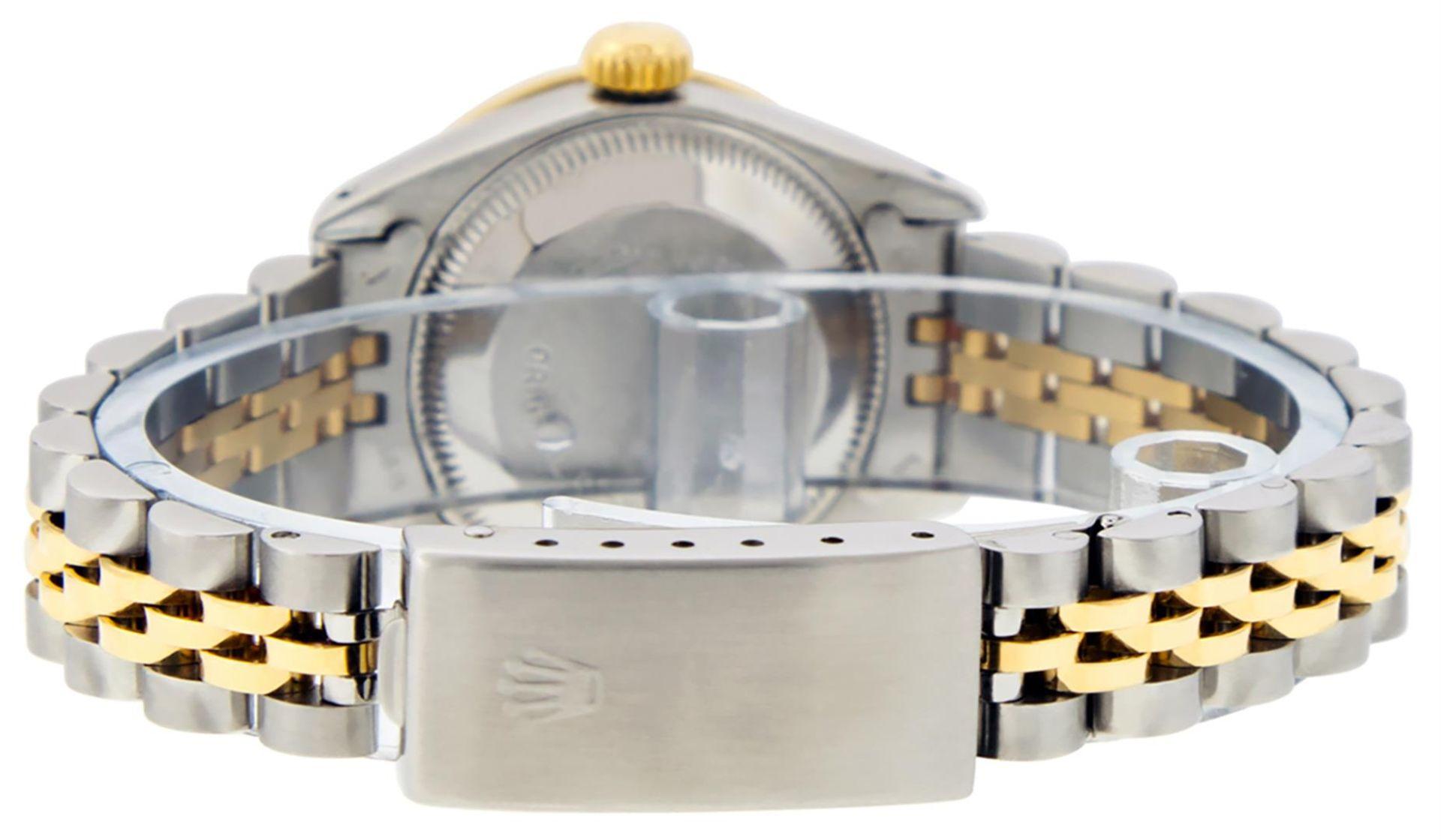Rolex Ladies 2 Tone Green Diamond & Emerald Datejust Wristwatch - Image 7 of 9
