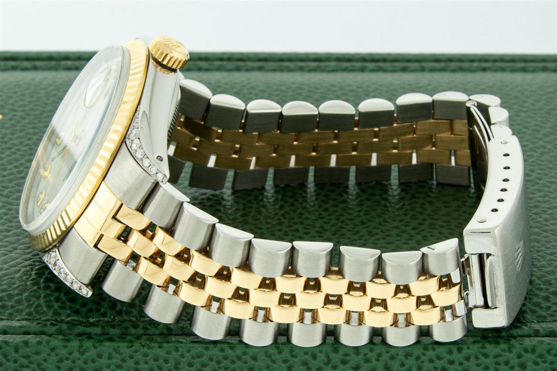 Rolex Mens 2 Tone MOP Diamond Lugs 36MM Datejust Wristwatch - Image 5 of 9