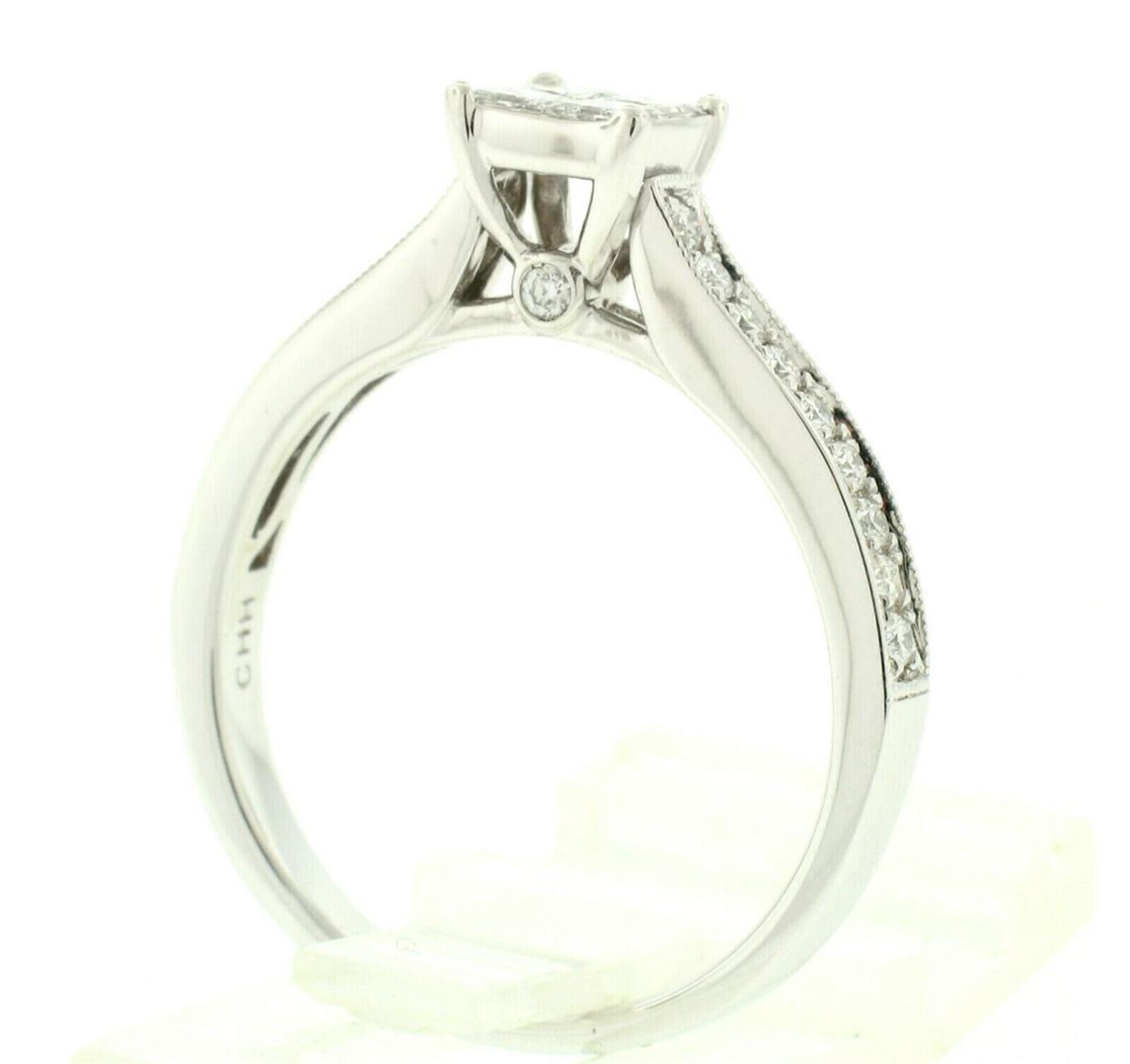14k White Gold 0.79ctw Illusion Solitaire Princess Cut Diamond Engagement Ring - Image 6 of 8