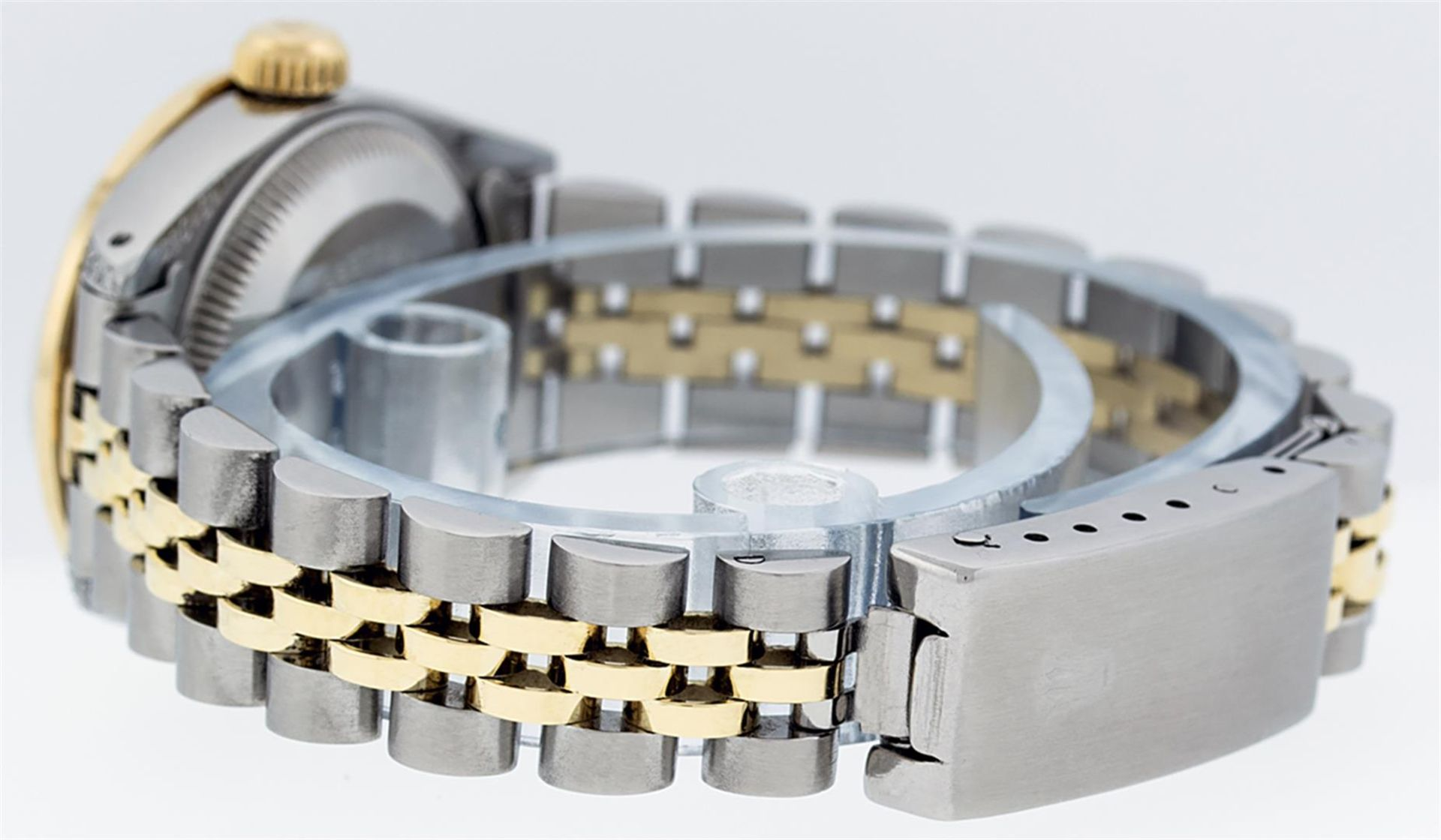 Rolex Ladies 26 Yellow Gold And Stainless Steel Pink MOP Lugs Oyster Perpetual D - Image 7 of 7