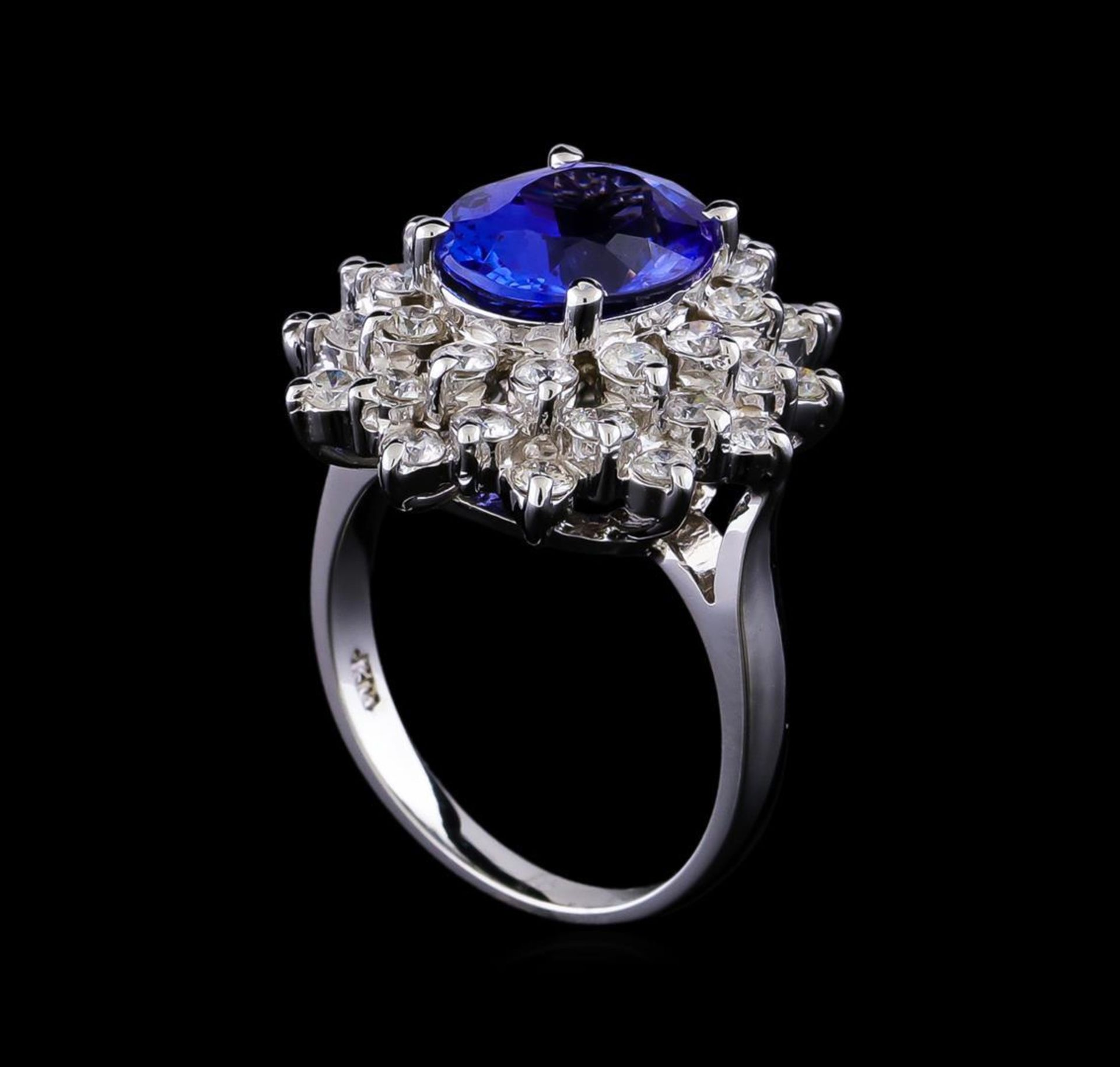 4.01 ctw Tanzanite and Diamond Ring - 14KT White Gold - Image 4 of 5