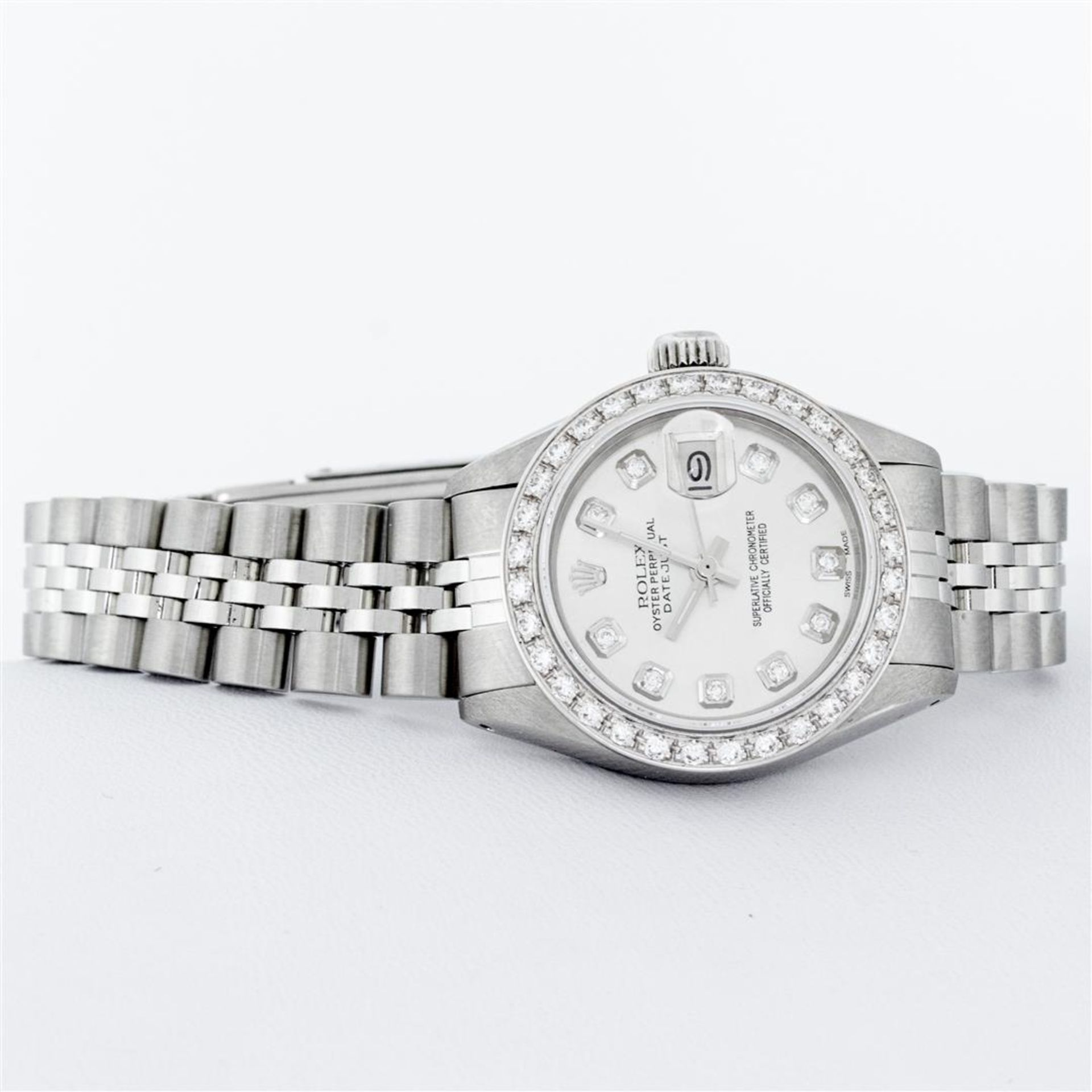 Rolex Ladies Stainless Steel Silver Diamond 26MM Oyster Perpetual Datejust - Image 4 of 9