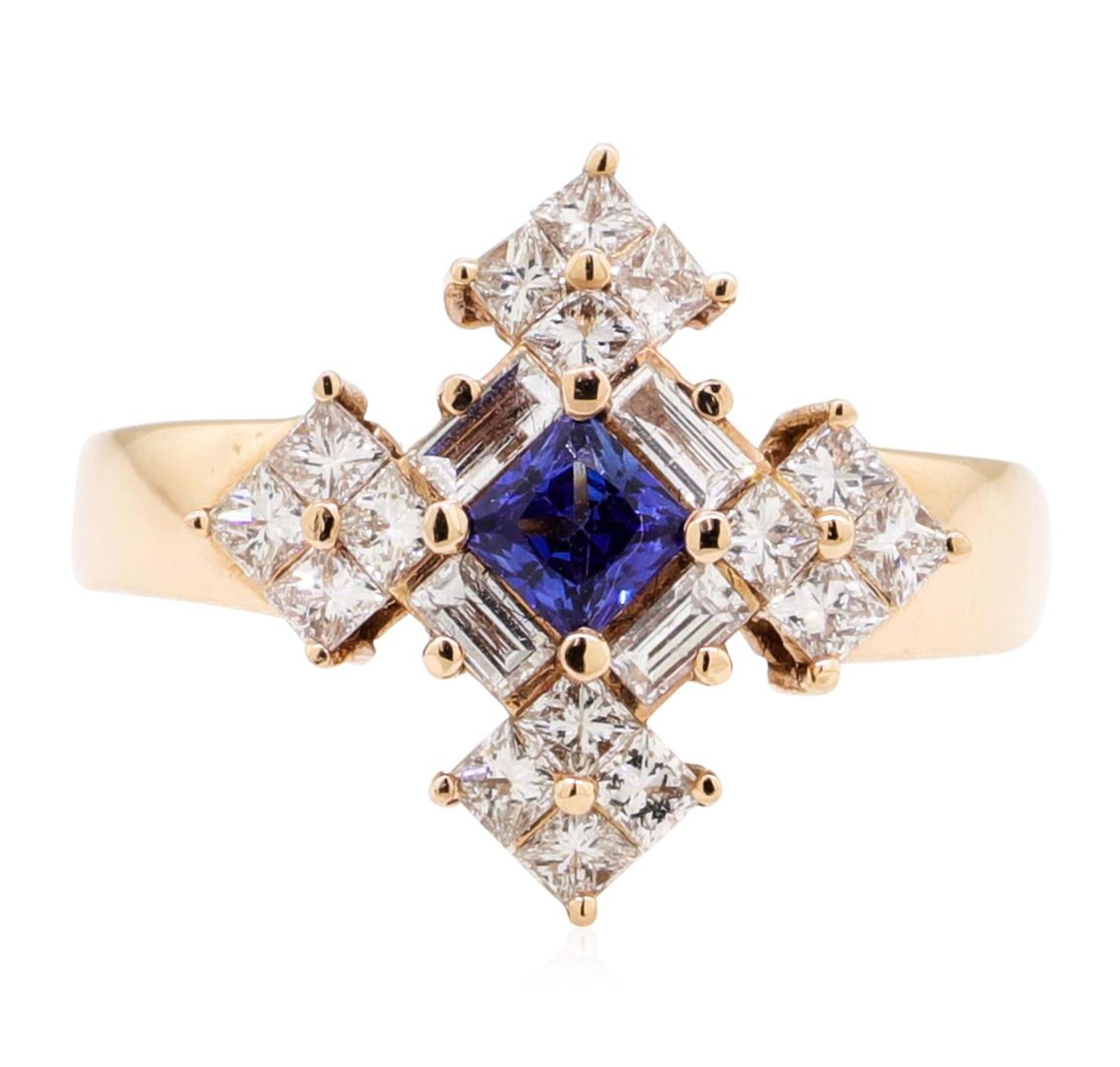 1.16 ctw Princess Brilliant Blue Sapphire And Baguette Cut Diamond Ring - 14KT R - Image 2 of 5