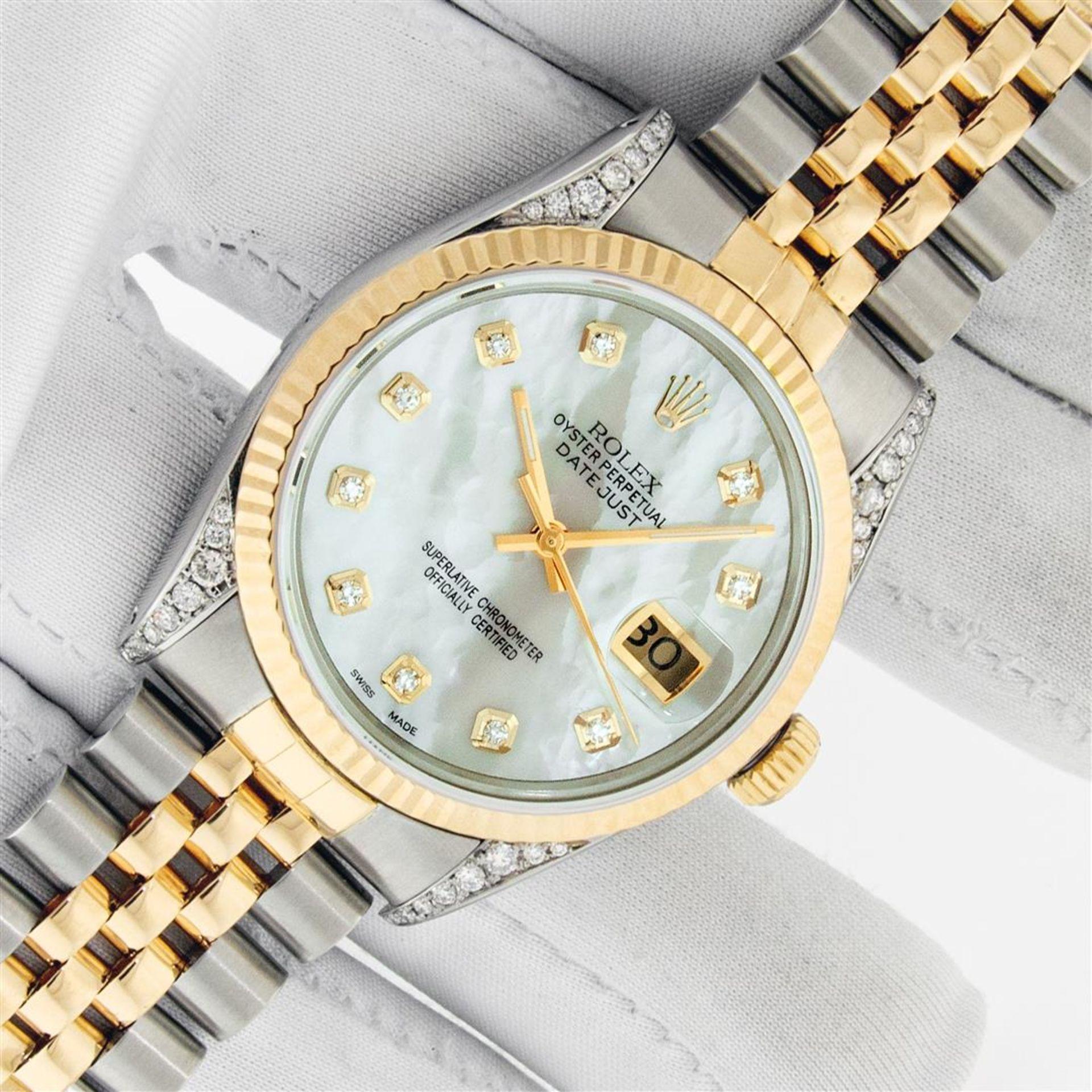 Rolex Mens 2 Tone MOP Diamond Lugs 36MM Datejust Wristwatch - Image 2 of 9