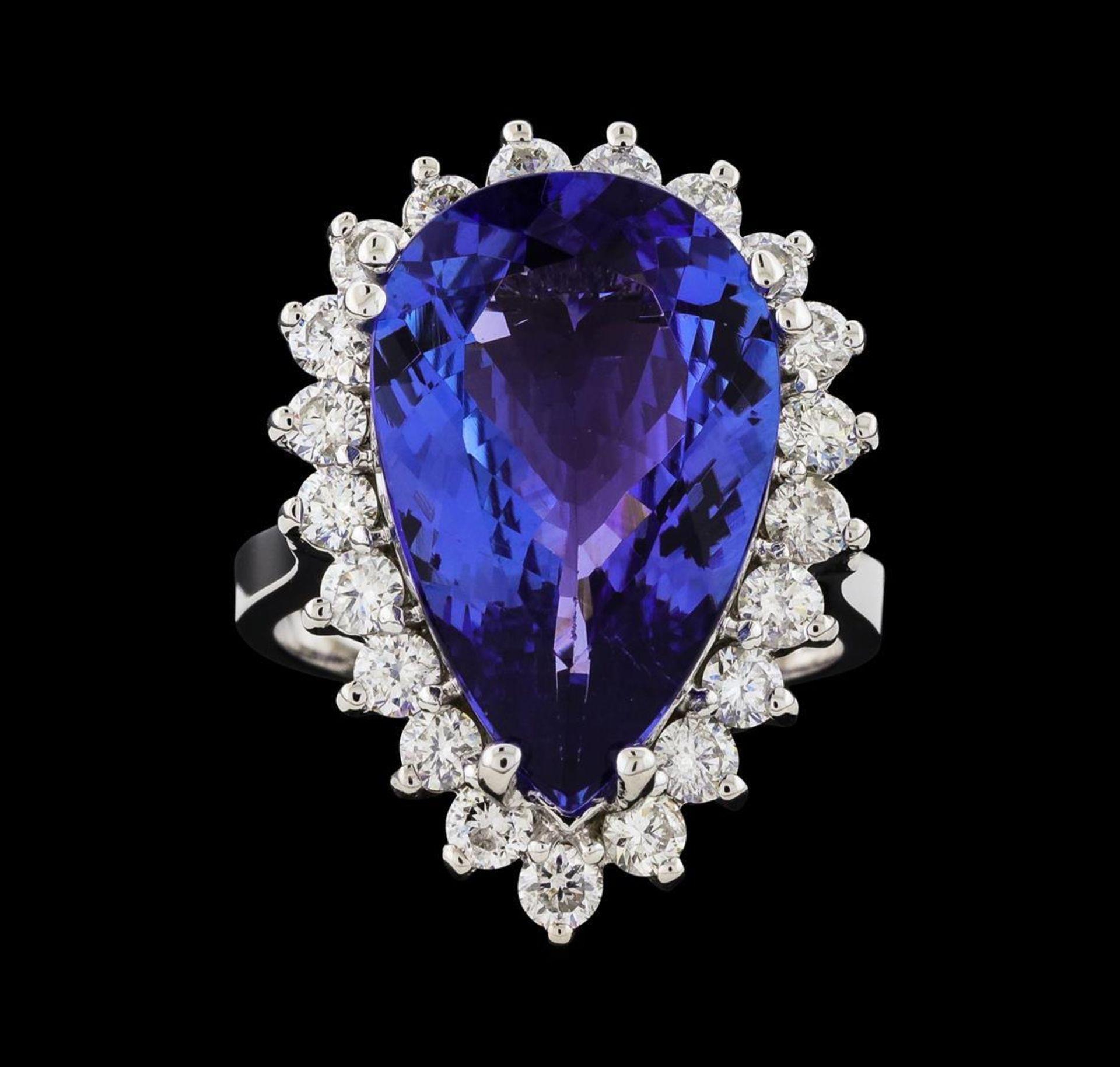 GIA Cert 8.74 ctw Tanzanite and Diamond Ring - 14KT White Gold - Image 2 of 6