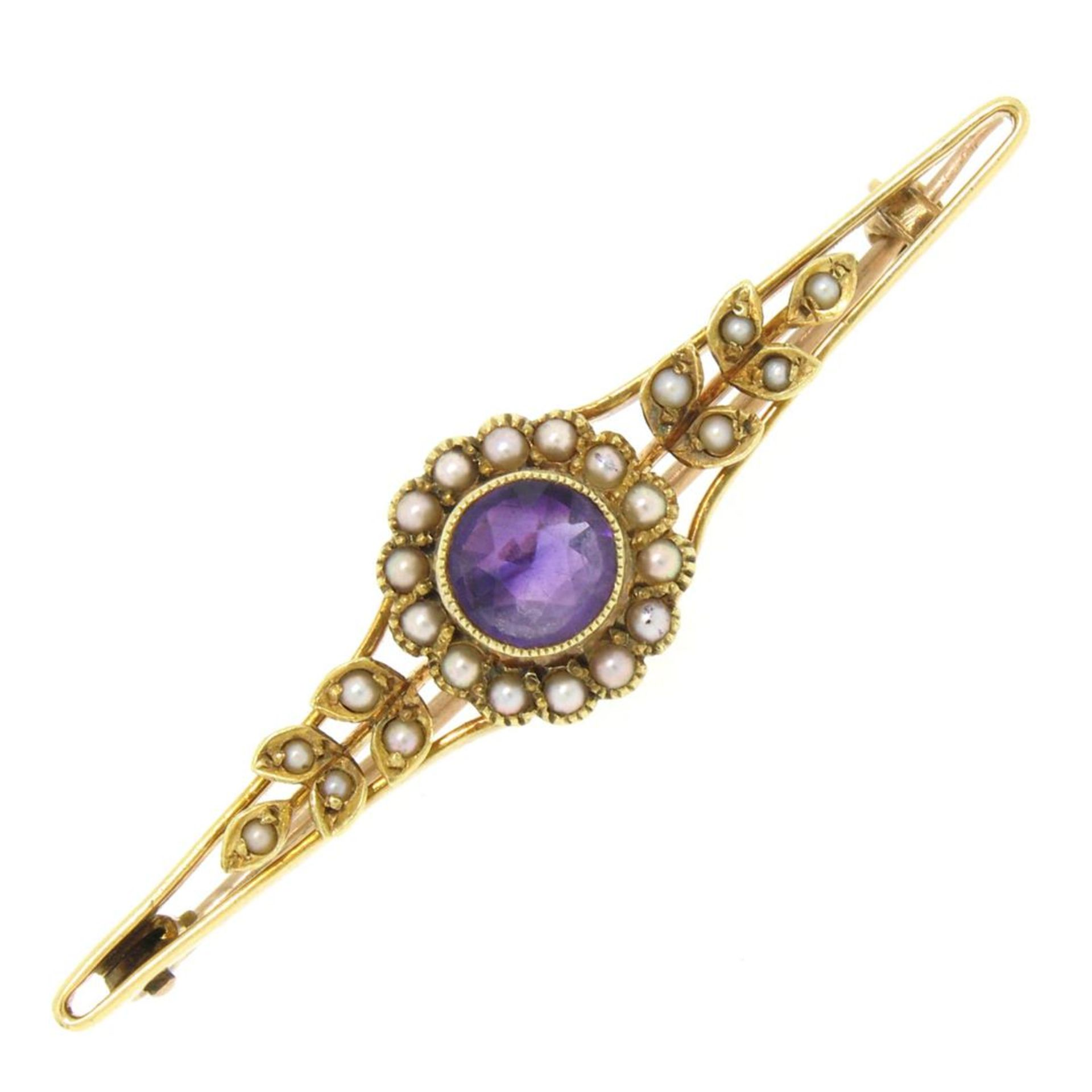 15k Yellow Gold .64 ct Old Cut Amethyst & Seed Pearl Brooch Pin
