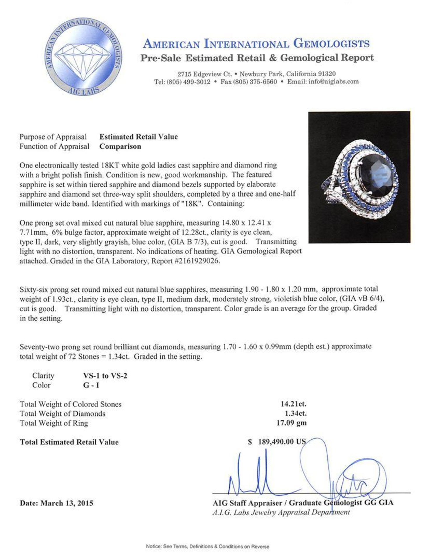 14.21 ctw Sapphire and Diamond Ring - 18KT White Gold GIA Certified - Image 4 of 5