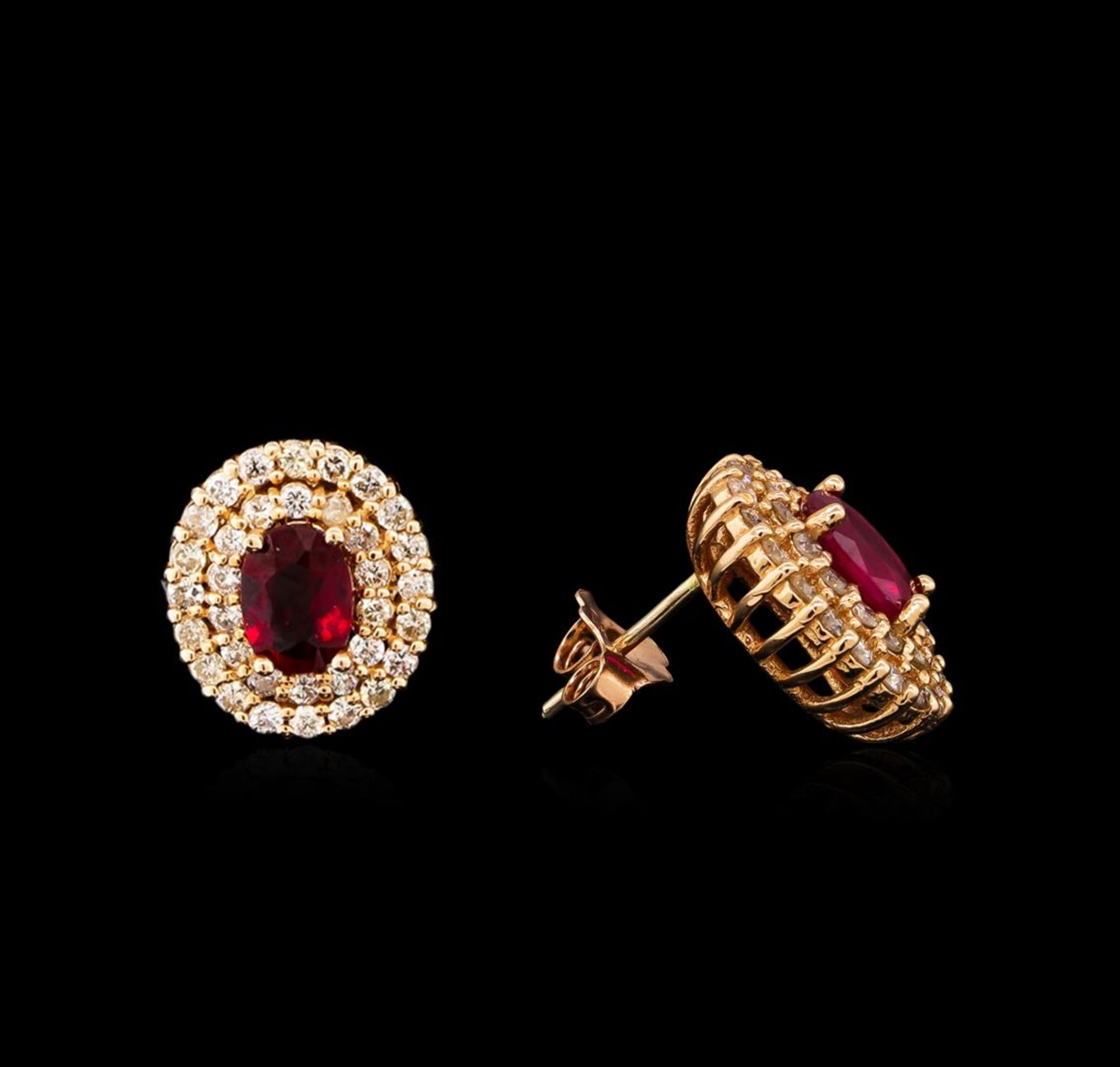 14KT Rose Gold 2.07ctw Ruby and Diamond Earrings - Image 2 of 3