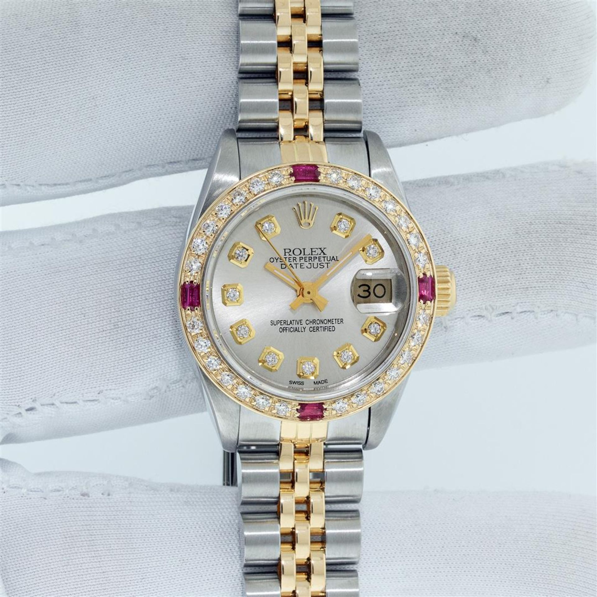 Rolex Ladies 2 Tone Silver Diamond & Ruby Oyster Perpetual Datejust Wristwatch - Image 3 of 9