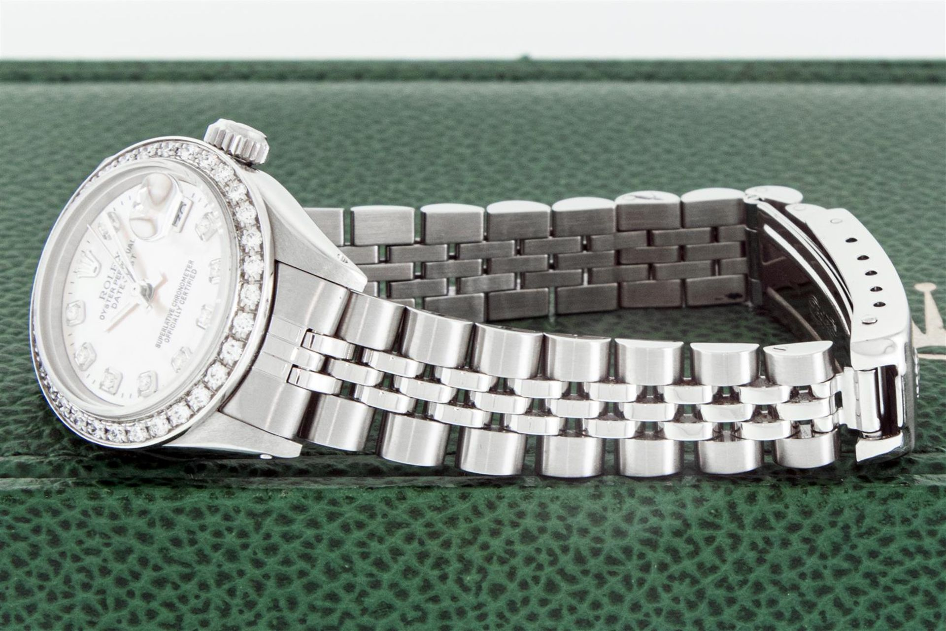 Rolex Ladies Stainless Steel Pink MOP Diamond 26MM Oyster Perpetaul Datejust Wit - Image 5 of 9