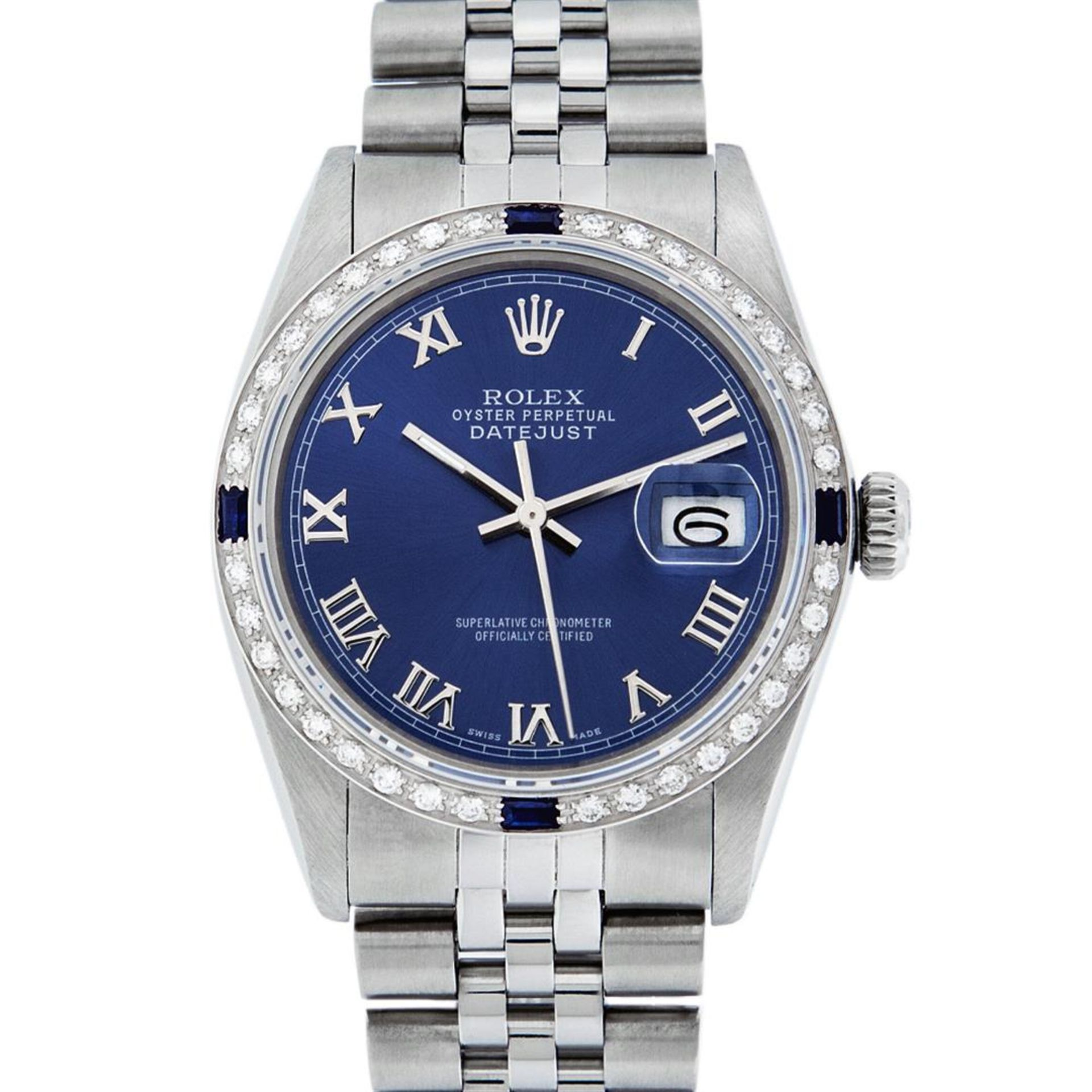 Rolex Mens Stainless Steel Blue Roman Diamond & Sapphire 36MM Oyster Perpetual D - Image 3 of 9