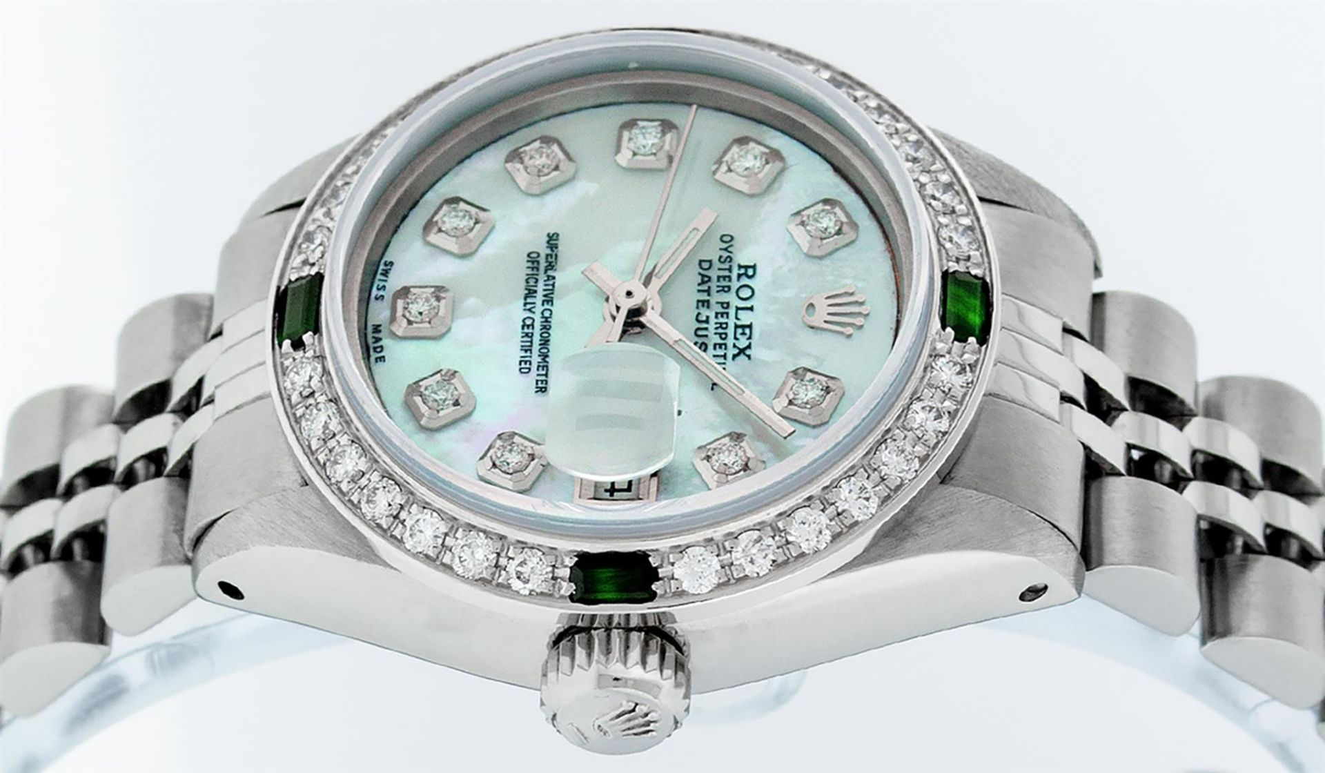 Rolex Ladies Stainless Steel Blue MOP Diamond & Emerald Datejust Wristwatch - Image 4 of 9