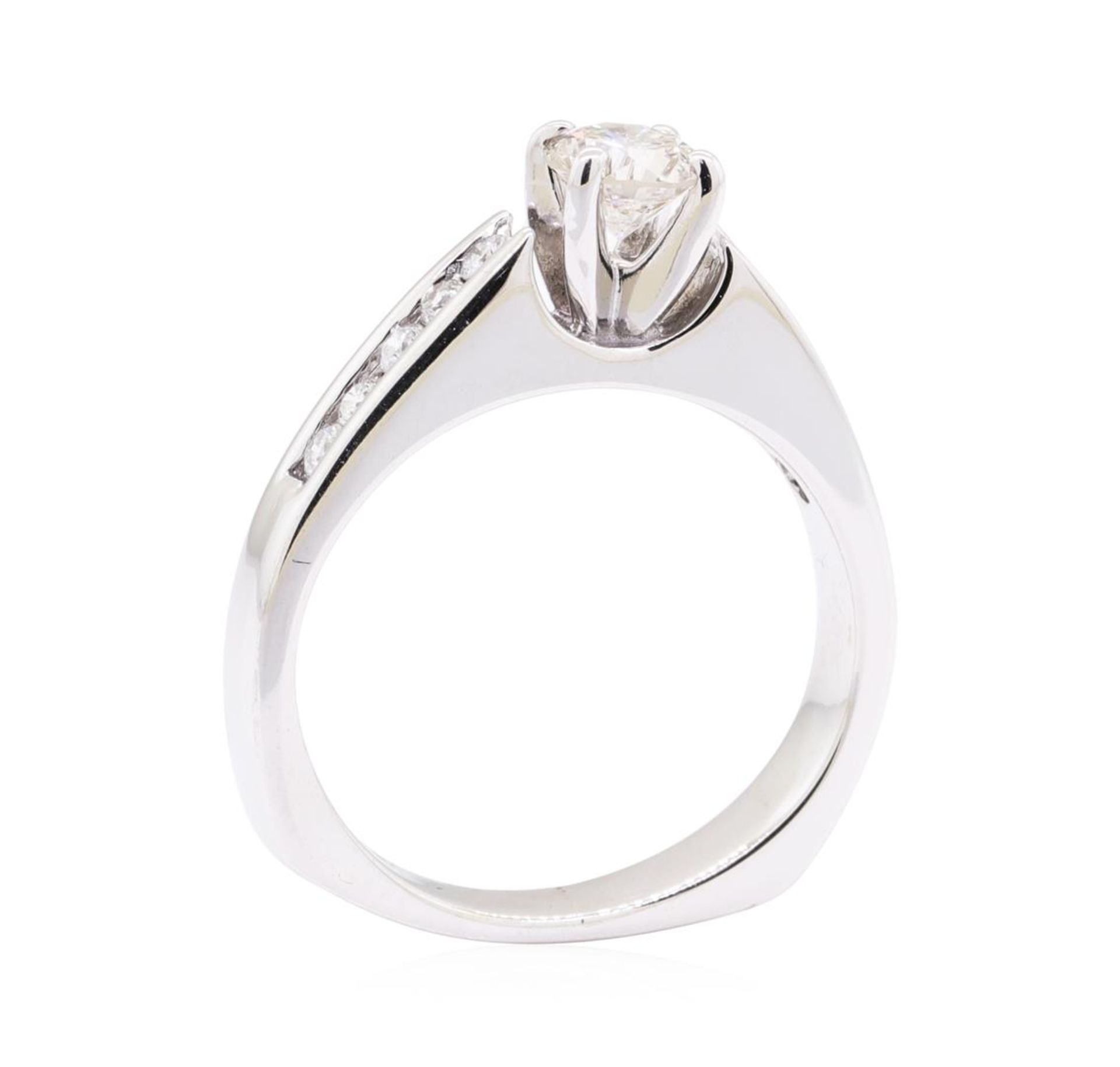 0.80 ctw Diamond Wedding Ring with a Euro Shank - 14KT White Gold - Image 4 of 4
