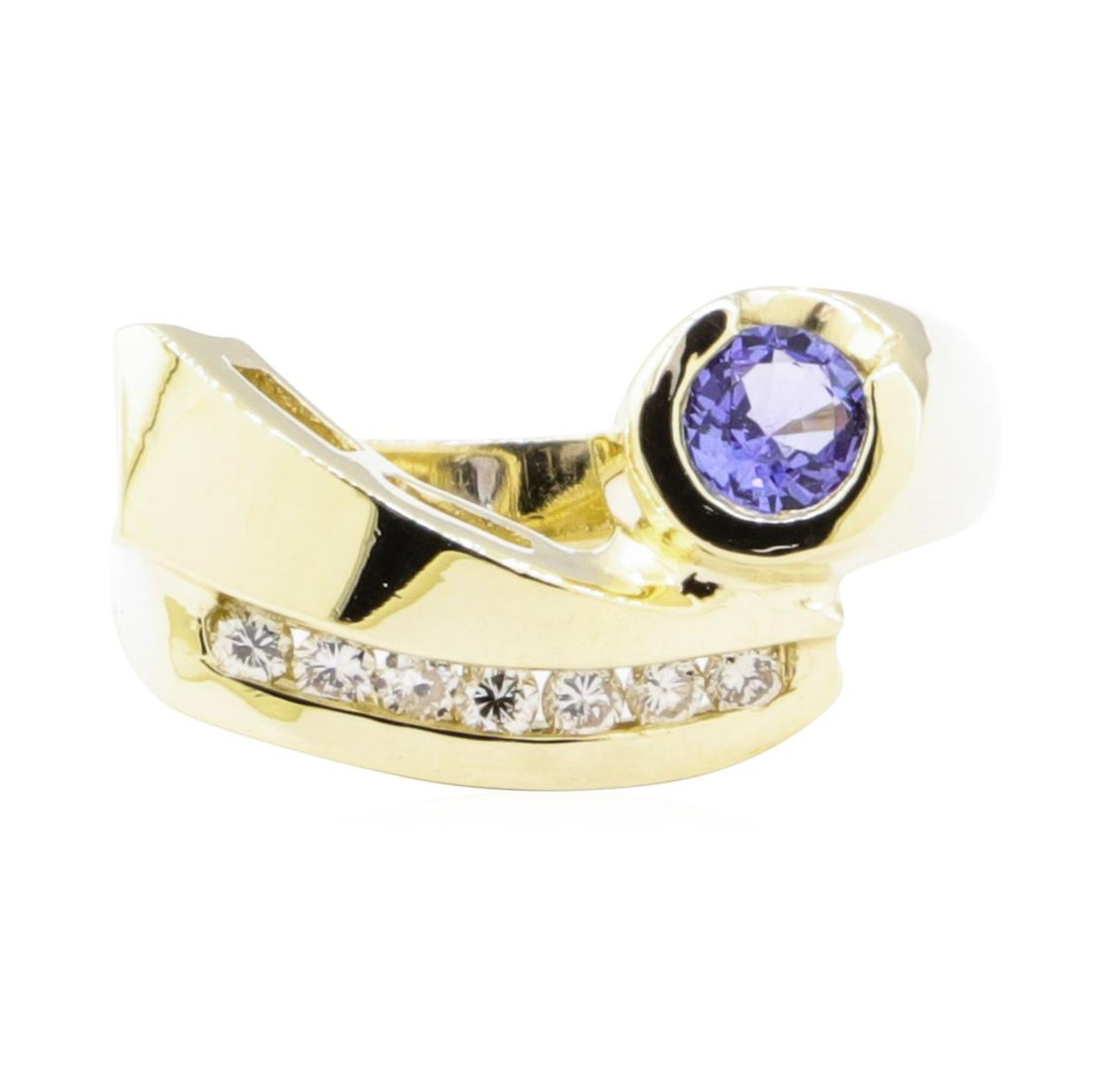 0.55ctw Blue Sapphire and Diamond Ring - 14KT Yellow Gold - Image 2 of 4