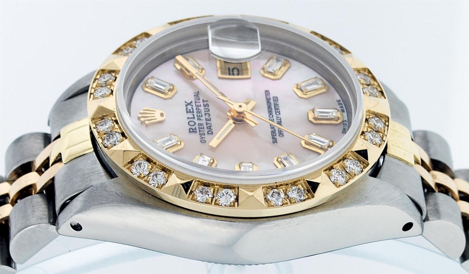Rolex Ladies 26 2T Pink MOP Baguette 18K YG Diamond Bezel Serviced And Polished - Image 4 of 9