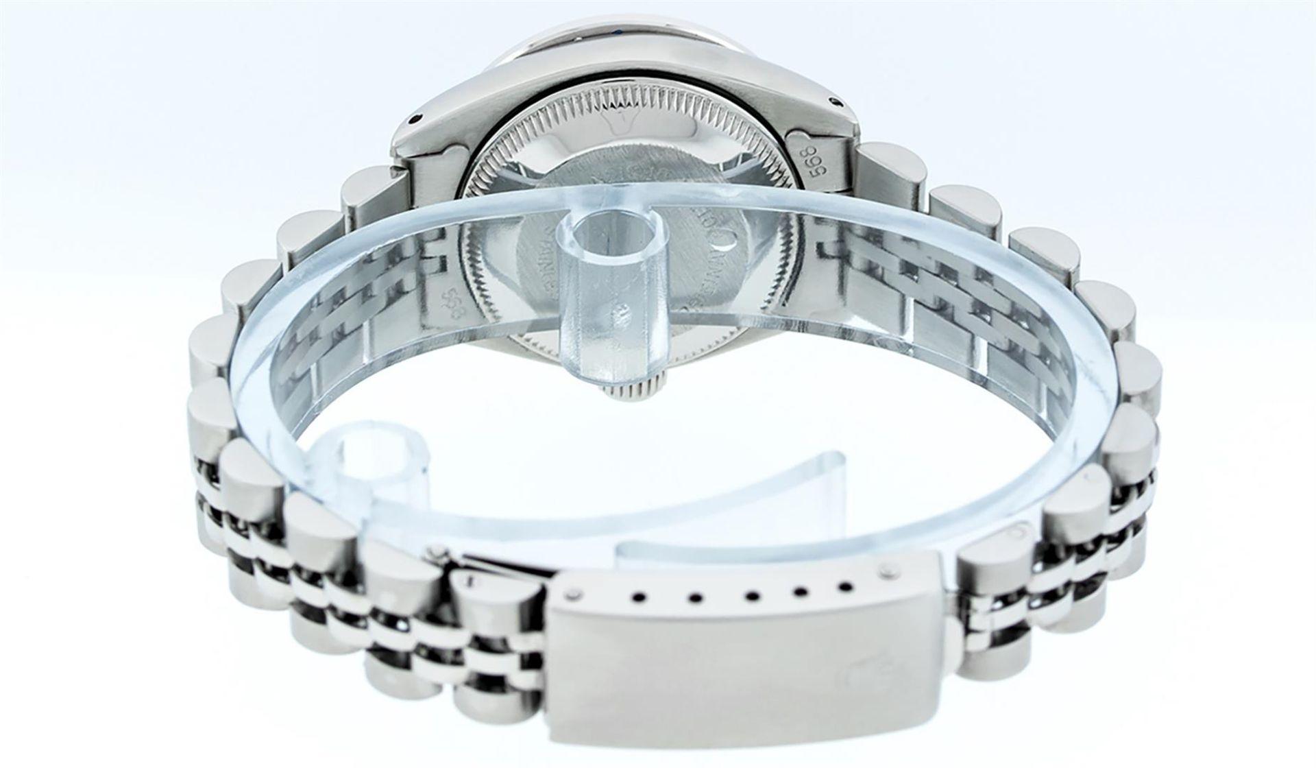 Rolex Ladies Stainless Steel Blue MOP Diamond & Emerald Datejust Wristwatch - Image 8 of 9