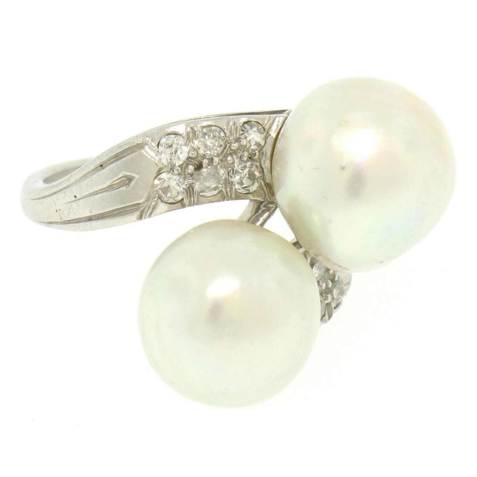 GIA Certified Solid Platinum Pearl & Diamond Bypass Cocktail Ring - Image 9 of 9