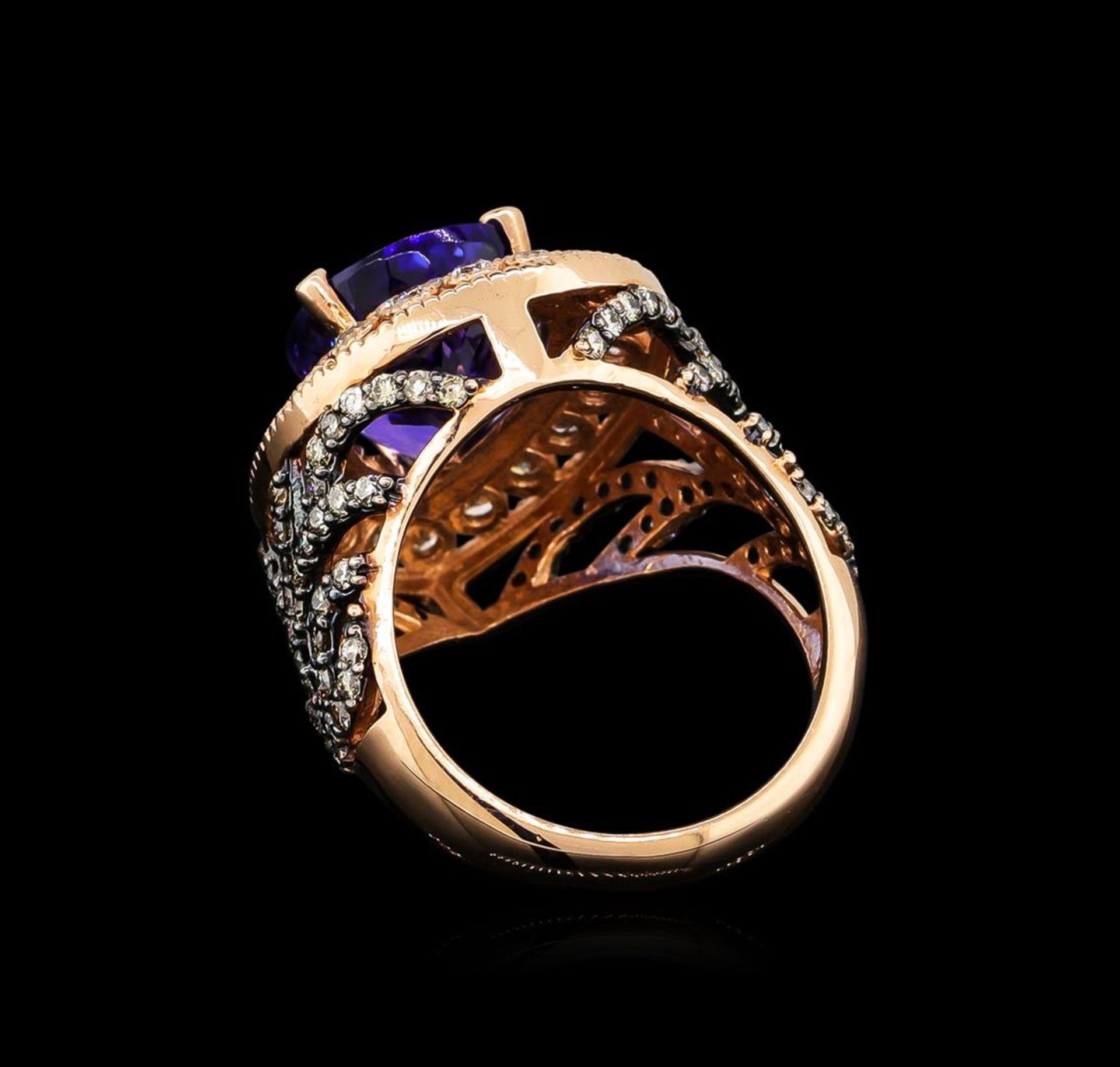 7.31 ctw Tanzanite and Diamond Ring - 14KT Rose Gold - Image 3 of 5