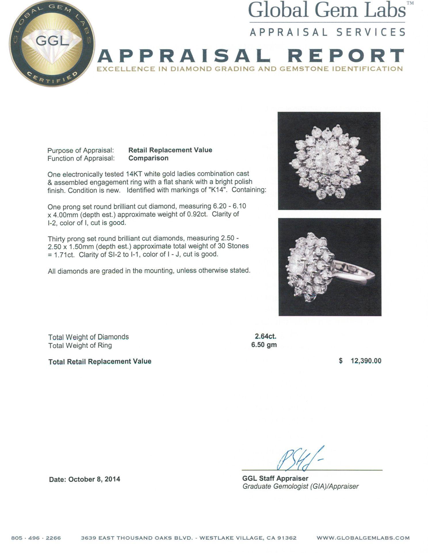 14KT White Gold 2.64 ctw Diamond Ring - Image 5 of 5
