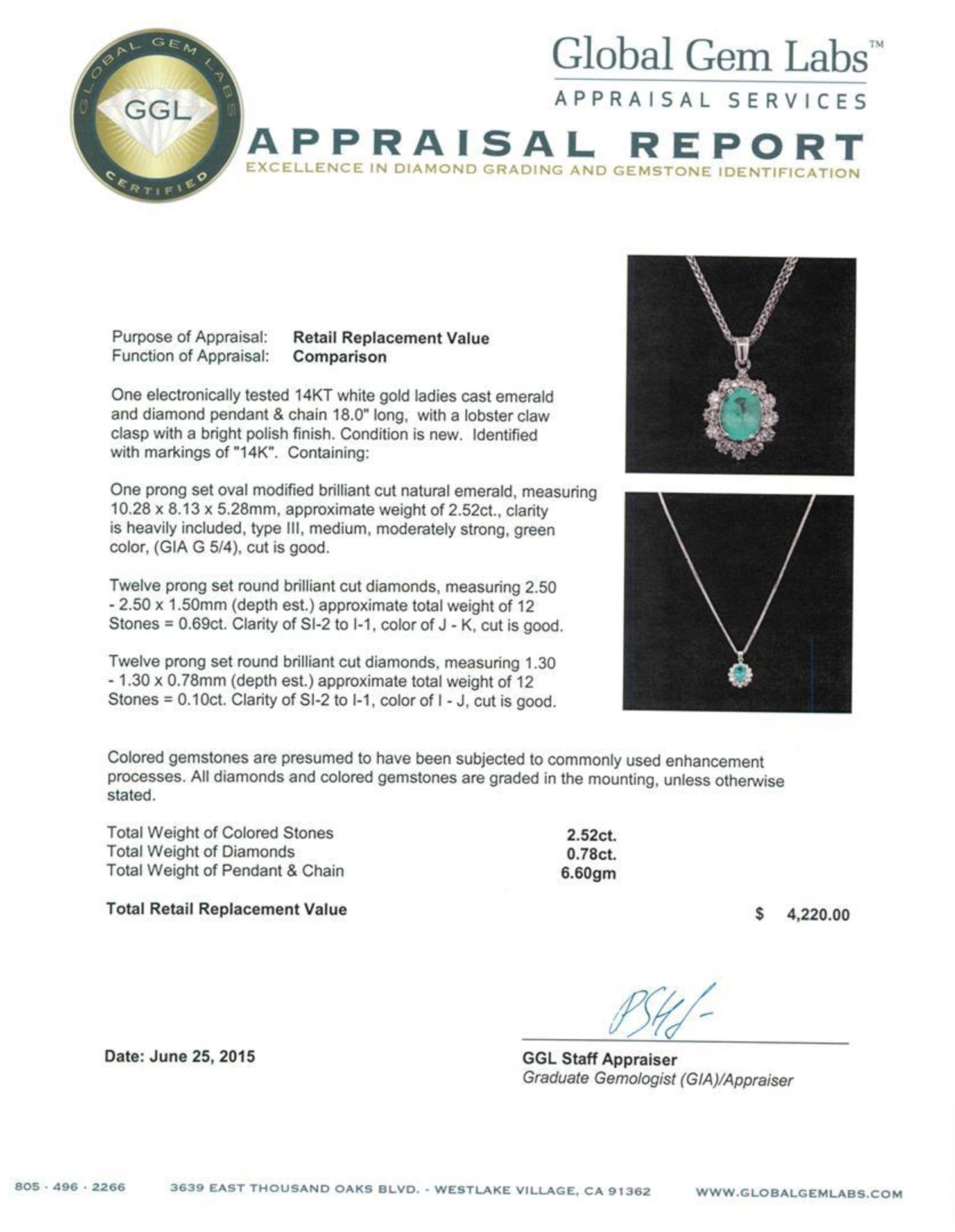2.52 ctw Emerald and Diamond Pendant With Chain - 14KT White Gold - Image 3 of 3