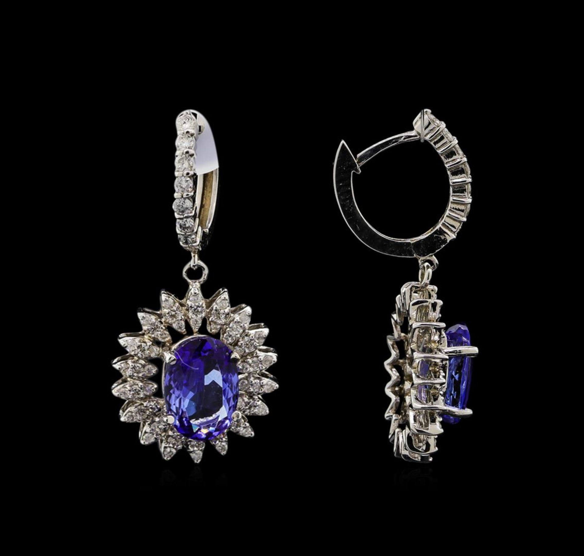 14KT White Gold 4.08 ctw Tanzanite and Diamond Earrings - Image 2 of 3